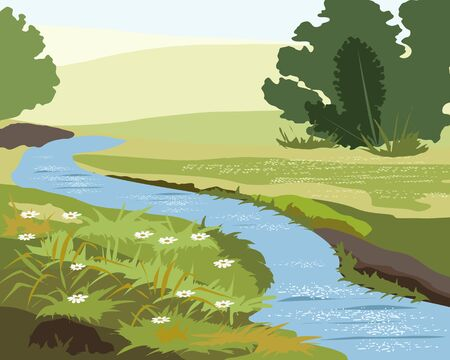 Spring stream flows among the grasses
