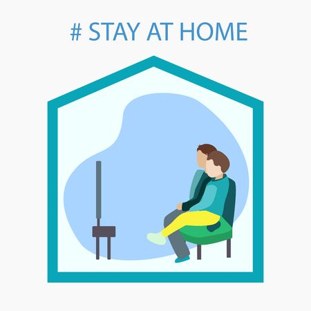 Two children watch TV at home. a call to stay home
