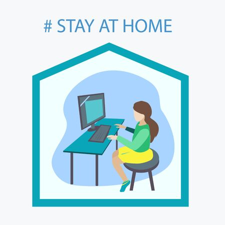The girl is studying at home on the computer in online training Vettoriali