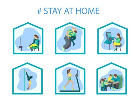 Examples of what you can do at home. A call not to leave the house Vettoriali