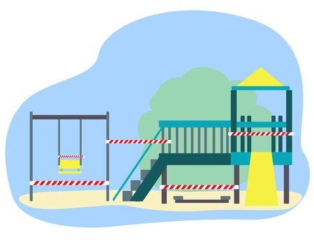 The Playground is closed to children and other visitors  イラスト・ベクター素材