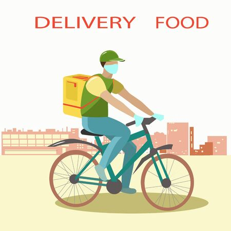 A Bicycle courier delivers food to your home in a medical mask and gloves