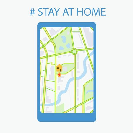 A mobile phone and a map of the city with leafy streets without traffic jams