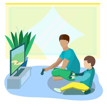 Brothers or father and son play video games at home on the TV in the car