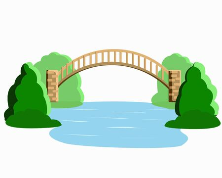 Bridge over the river and juicy trees isolated on a white background