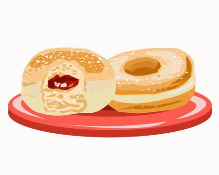 Two doughnuts with filling on a plate and one over the top Иллюстрация