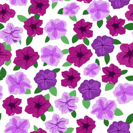 Seamless pattern of bard and lilac petunias with leaves on a white background Illustration