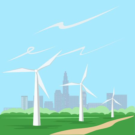 Wind power plant in a field near the city