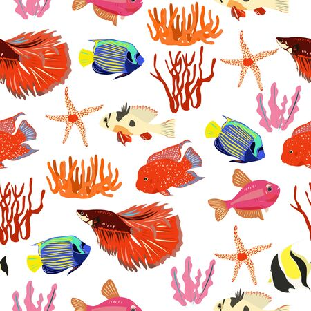 Pattern of red aquarium fish and algae on a white background 矢量图像