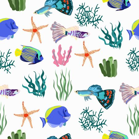 The pattern of sea fish and coral is seamless