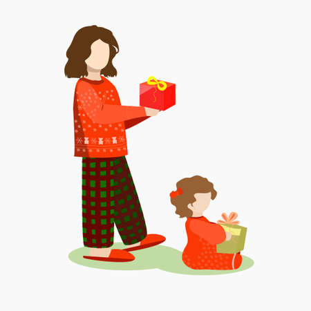 Two older and younger girls receive gifts