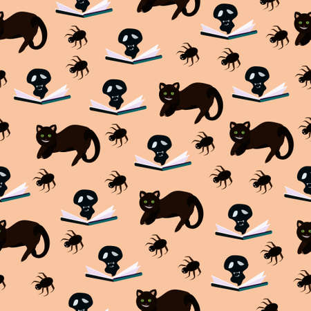 Seamless pattern with black cats and book and spiders