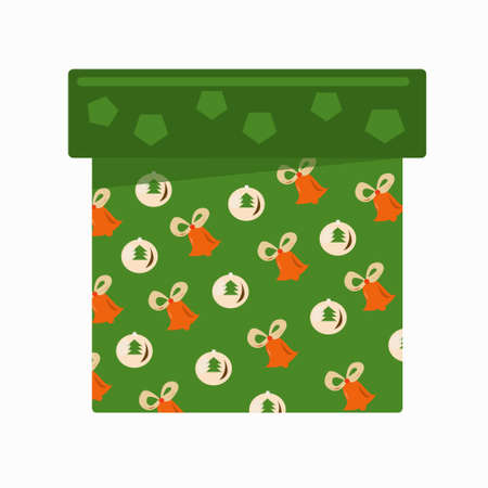 Green gift box with bells and balloons on a white background