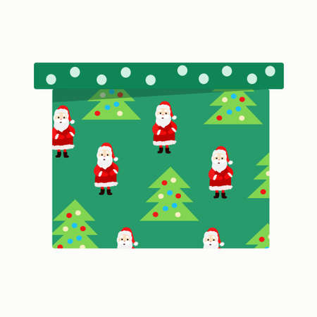 Green gift box with Christmas trees and Santa Claus on white  イラスト・ベクター素材