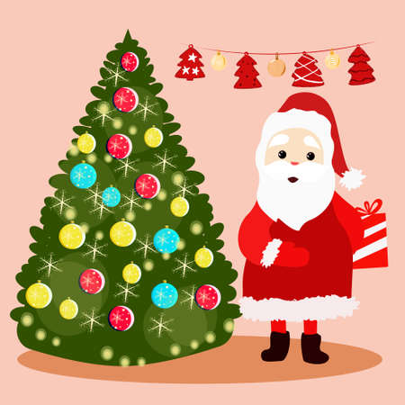 Santa Claus stands near the Christmas tree and holds a gift behind his back