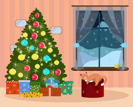 Interior of a room with a Christmas tree a window and a cat Vektoros illusztráció