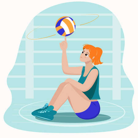 Girl volleyball player sitting in the hall with a ball