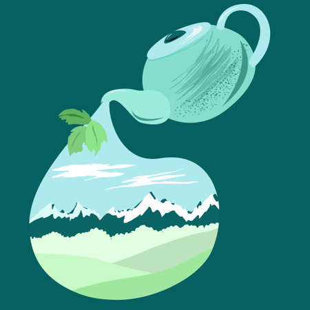 Teapot with tea leaves and landscape from the mountain