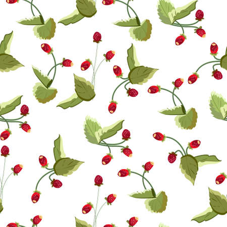 Seamless pattern with berries of wild strawberry