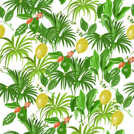 Seamless pattern with indoor plants with beautiful leaves