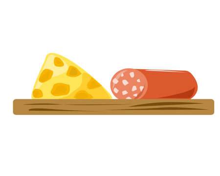 A piece of cheese and sausage on a wooden board