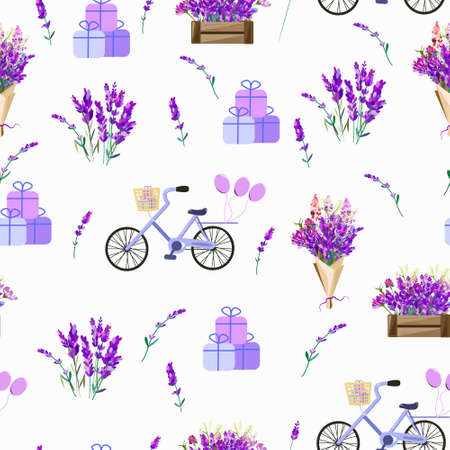 Seamless pattern with lavender flowers and bicycles. On a white background for printing textiles or packaging or design