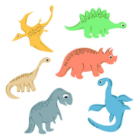 Colorful dinosaurs for kids funny pictures. Isolated elements on a white background