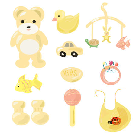A set of toys for the baby in yellow colors