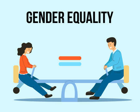 Gender equality is like a swing at the same height. A man and a woman on a swing are equal. Vektoros illusztráció