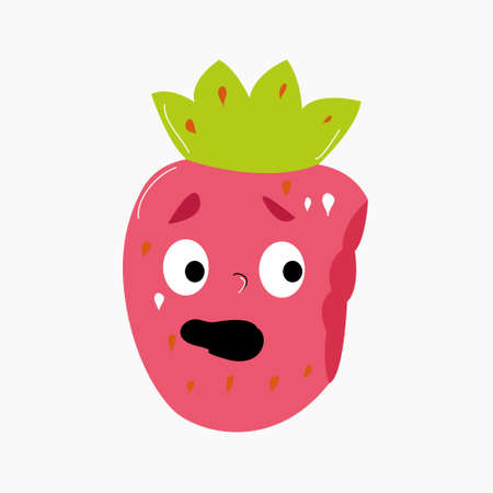 A strawberry with eyes from which a piece was bitten off. Funny illustration with the character berry. Ilustração Vetorial