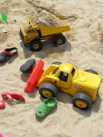Building sand castles is fun Stock Photo