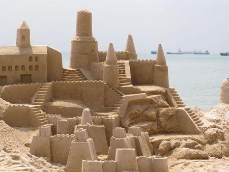 children sandcastle: Building sand castles is fun Stock Photo