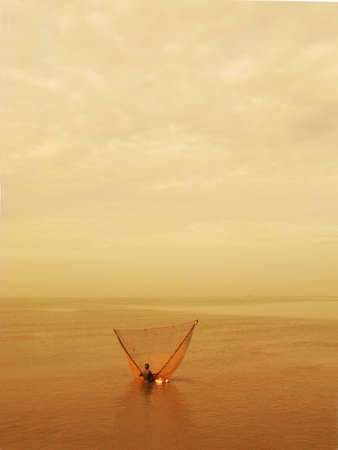 v lake: Fisherman using traditional method