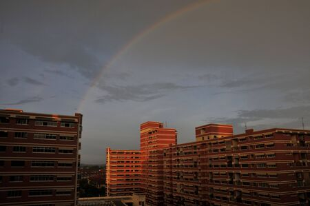 hdb: Rainbow with hdb flats in the background