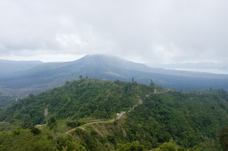 Volcano in Bali island.  View from another mountain. Stock Photo