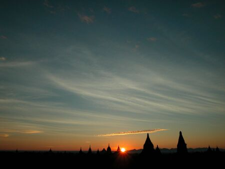 Bagan at sunrise.  Bagan is known as land of pagodas.  You can see the pagodas for miles and miles around you.