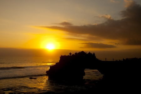Tanah Lot, is a prime tourist area in Bali, Indonesia