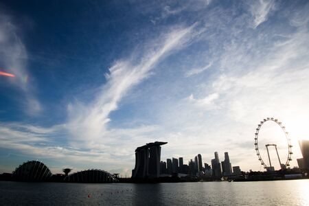 Singapore Skyline with Singapore Flyer and MBS