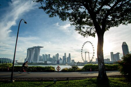 Singapore Skyline with MBS and Singapore Flyer