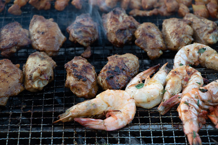 Delicious and smoky barbeque food Archivio Fotografico