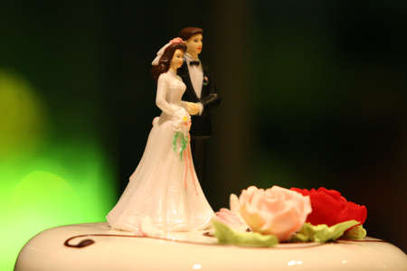 side view close up of small bride and groom figures, a decoration for a wedding cake and two marzipan flowers Stock Photo - 2556102