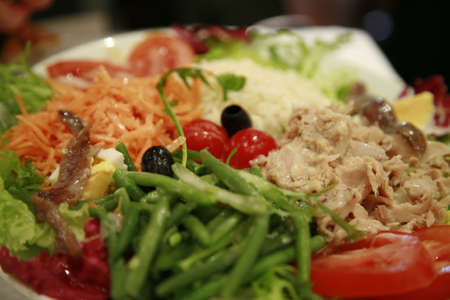 close-up of Salad Nicoise with vegetables and tuna photo