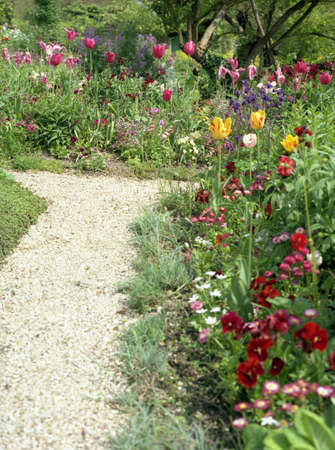 colorful botanical flower garden along a white pebbled path photo