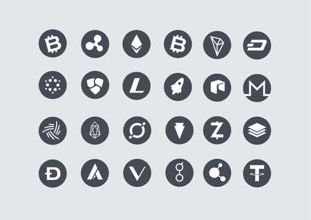 Set of cryptocurrency icons including bitcoin, ethereum, ripple, bitcoincash, cardano, NEM, litecoin, stellar, IOTA, tron, dash, neo, monero, eos, icon, verge, Zcash, stratis, dogecoin, ardor, Vechain, golem, bitconnect, and tether.