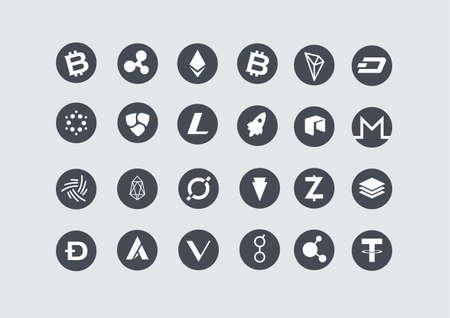 Set of cryptocurrency icons including bitcoin, ethereum, ripple, bitcoincash, cardano, NEM, litecoin, stellar, IOTA, tron, dash, neo, monero, eos, icon, verge, Zcash, stratis, dogecoin, ardor, Vechain, golem, bitconnect, and tether.