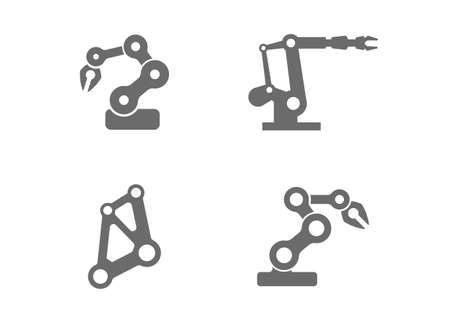 Industrial robotic arm vector art that can be used as icons, logos, or similar. Robot arms like these are used in industries like manufacturing, production, automation, engineering, science, and material handling in factories. Rendered in a simple, flat style.