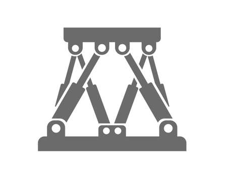 Stewart platform logo. Closed kinematic chain driven by hydraulic cylinders. Typically used in offshore and marine industry in lab environments to test heave and wave compensation. Simple, grey, flat colors that represent a clean and technical feeling.