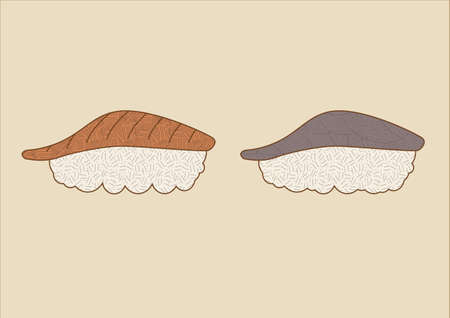 Nigiri sushi with fresh salmon and tuna. Perfectly cooked white, sticky rice. Intended for restaurant menues or icons. Rendered in a traditional japanese ink-art style with textures, colored lines and muted colors.  Ilustrace