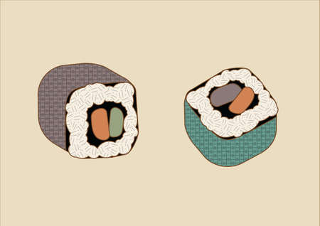 Sushi rolls with fresh salmon and tuna. Perfectly cooked white, sticky rice. Intended for restaurant menues or icons. Rendered in a traditional japanese ink-art style with textures, colored lines and muted colors.
