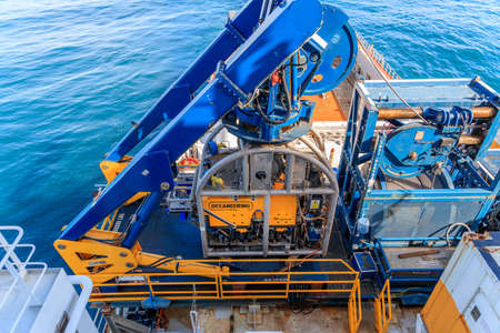 WICK, SCOTLAND - 2017 MARCH 23. Oceaneering Remote Operate Vehicles ROV Magnum on deck and secured on a offshore vessel. Redakční